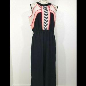 Black Color Block Smooth SL Long Halter-Neck Dress